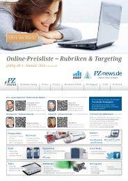 Online-Preisliste – Rubriken & Targeting - Pforzheimer Zeitung