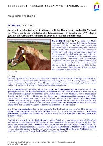 Pressebericht zu den Kaltbluttagen St. Märgen 2012 - Haupt- und ...