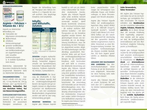 Arginin + Folsäure + Vitamin B6 + B12 Inhalts - Quintessenz health ...