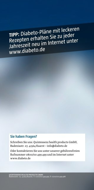 Diabeto-Winterrezepte - Quintessenz health products GmbH