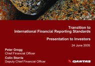 Transition to International Financial Reporting Standards ... - Qantas