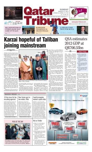 Karzai hopeful of Taliban joining mainstream - Qatar Tribune
