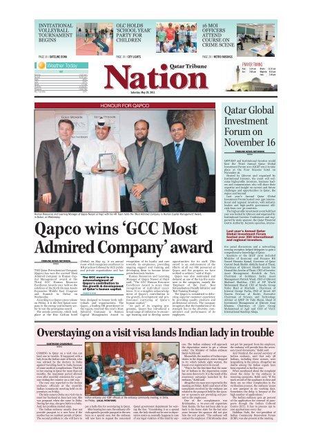 Qapco Wins Gcc Most Admired Company Award Qatar Tribune