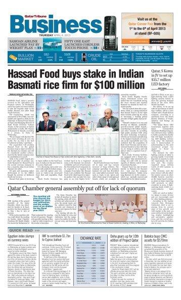 Hassad Food buys stake in Indian Basmati rice firm ... - Qatar Tribune
