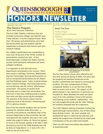 Spring '10 Honors Newsletter (PDF) - Queensborough Community ...