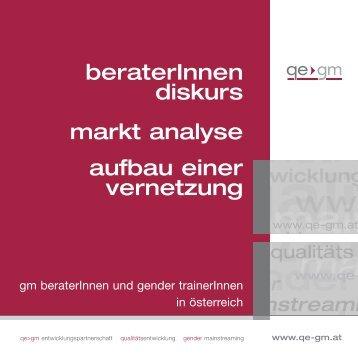 BeraterInnendiskurs - Marktanalyse - Aufbau einer Vernetzung.