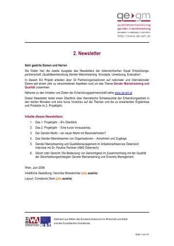 2. Newsletter - Qualitätsentwicklung Gender Mainstreaming