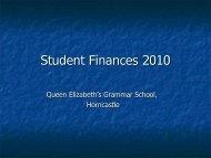 Student Finances 2010.pdf - Queen Elizabeth's Grammar School