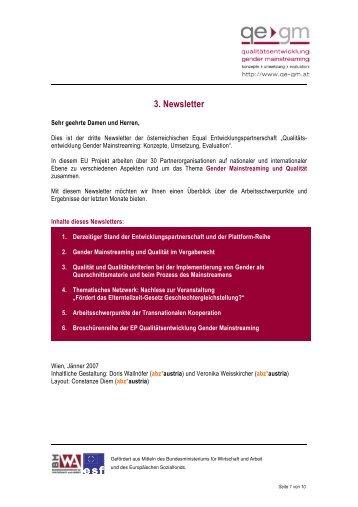 3. Newsletter - Qualitätsentwicklung Gender Mainstreaming