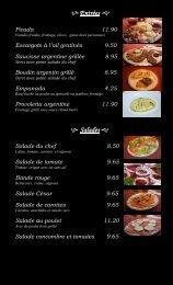 Menu Restaurant Argentino