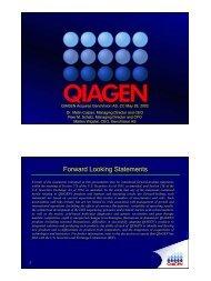 Conference Call Presentation - Qiagen