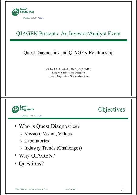 Quest Diagnostics and QIAGEN Relationship