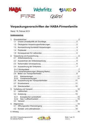 Verpackungsvorschriften der HABA-Firmenfamilie - Wehrfritz GmbH