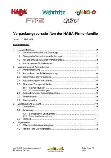 Verpackungsvorschriften der HABA-Firmenfamilie