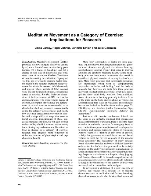 Meditative Movement as a Category of Exercise     - Qigong