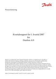 Kvartalsrapport for 1. kvartal 2007 for Danfoss A/S