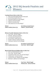 2012 DQ Awards Finalists and Winners - Equestrian Queensland