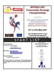 START LIST - Equestrian Queensland