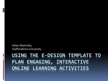 using the e-design template to plan engaging, interactive online ...