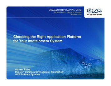 Choosing the Right Application Platform for Your Infotainment System