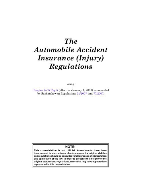 Automobile Accident Insurance - Queen's Printer - Government
