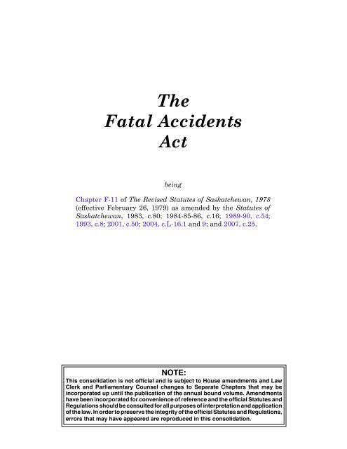 Fatal Accidents Act - Queen's Printer