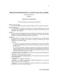 RÈGLES DE PROCÉDURE DE LA COUR DU BANC DE LA REINE