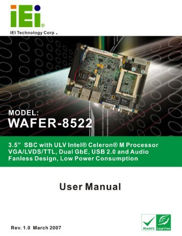 WAFER-8522 Motherboard User Manual - Q Products