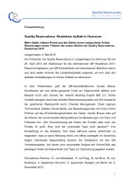 Quality Reservations: Roadshow Auftakt in Hannover