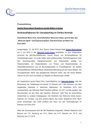 Pressemitteilung - Quality Reservations