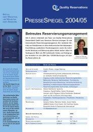 PRESSESPIEGEL 2004/05 - Quality Reservations