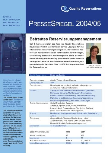 PRESSESPIEGEL 2004/05 - Quality Reservations