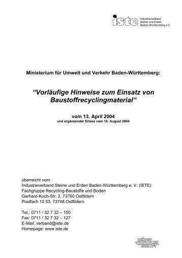 Ministerium für Umwelt und Verkehr Baden-Württemberg