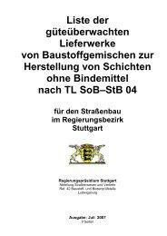 für den Straßenbau im Regierungsbezirk Stuttgart