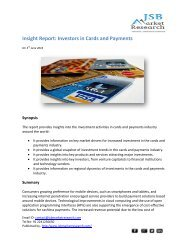 JSB Market Research - Insight Report: Investors in Cards and Payments