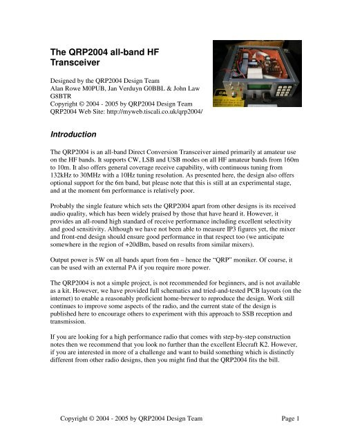 The QRP2004 all-band HF Transceiver
