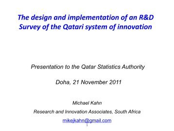The design and implementation of an R&D Survey - Qatar Statistics ...