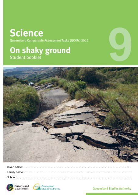 2012 QCAT Year 9 Science — Student booklet - Queensland ...