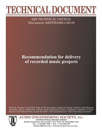 Recommendation for Delivery of Recorded Music Projects
