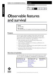 Observable features and survival - Queensland Studies Authority