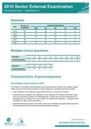 Assessment report - Mathematics A - Queensland Studies Authority