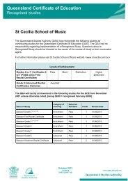 St Cecilia School of Music - Queensland Studies Authority