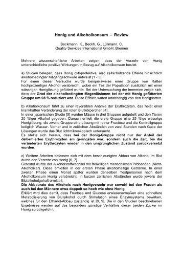 Honig und Alkoholkonsum - Review (2009) - QSI