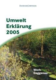 Daimlerchrysler Werk Gaggenau, Umwelterklärung 2005