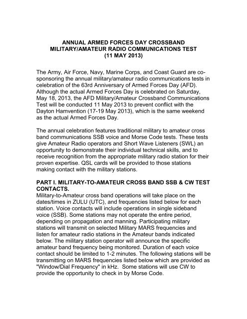 annual armed forces day crossband military/amateur radio