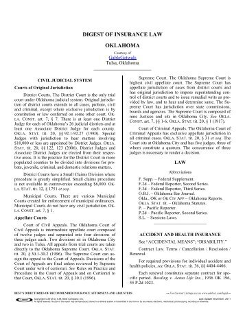 DIGEST OF INSURANCE LAW OKLAHOMA - A.M. Best