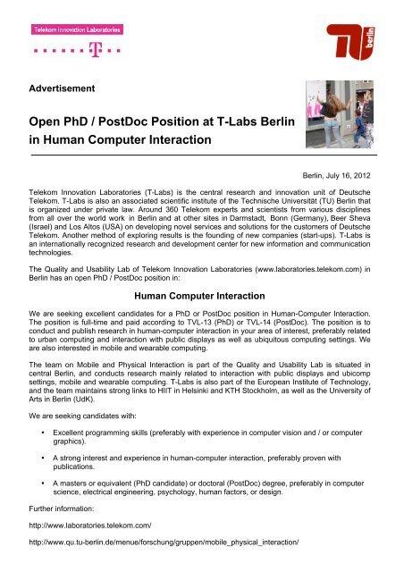 Phd Position Advertisement