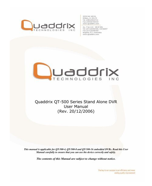 Quaddrix QT-500 Series Stand Alone DVR User Manual (Rev  20/12