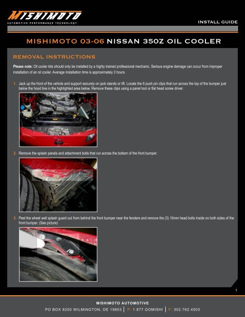 MISHIMOTO 03-06 NISSAN 350Z OIL COOLER