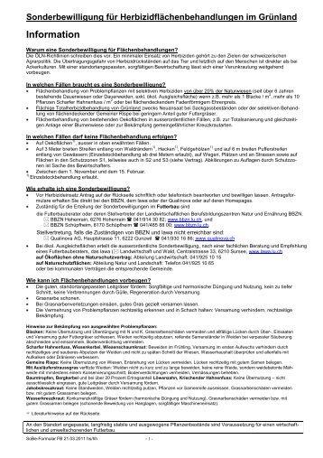Sonderbewilligungsformular Futterbau - Qualinova AG